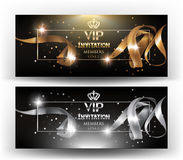 VIP Invitation banners with realistic silver and gold curly ribbons and frame. Royalty Free Stock Photos