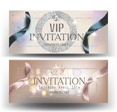 VIP invitation banners with  ribbons and luxurious elements. Vector illustration Royalty Free Stock Photography