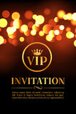 VIP invitation card with gold and bokeh glowing background. Premium luxury elegant design Stock Photos