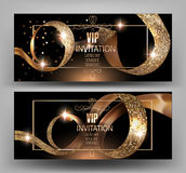 VIP Invitation card with gold curly textured ribbons. Stock Photography
