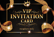VIP INVITATION CARD WITH GOLD FRAME AND SPARKLING RIBBON Royalty Free Stock Photography