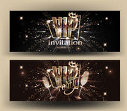 VIP invitation card with gold letters, frame, glasses of champagne and crown. Vector illustration Stock Images