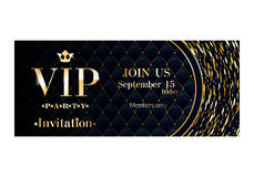 VIP invitation card premium design template. VIP club party premium invitation card poster flyer. Black and golden round burst design template. Sharp oval Stock Photography