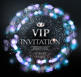 VIP invitation card with silver sparkling background and defocused lights. Vector illustration Stock Photos