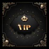 VIP invitation card. VIP invitation template with golden crown, decorative corners and sparkling confetti on black background stock illustration