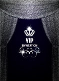 VIP invitation card with textured silver curtains Royalty Free Stock Photo