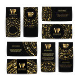 VIP Invitation Card Vector Set. Party Premium Blank Poster Flyer. Black Golden Design Template. Decorative Vector Background. Eleg Royalty Free Stock Image