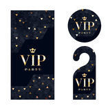 VIP invitation card, warning hanger and badge. Royalty Free Stock Images