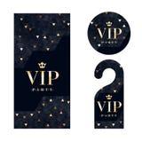 VIP invitation card, warning hanger and badge. Royalty Free Stock Images