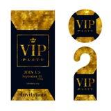 VIP invitation card, warning hanger and badge. Stock Photography