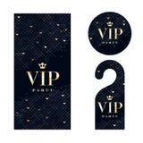 VIP invitation card, warning hanger and badge Stock Photos