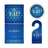 VIP invitation card, warning hanger and badge Royalty Free Stock Photography