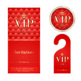 VIP invitation card, warning hanger and badge Royalty Free Stock Photo