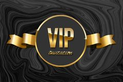 VIP invitation design template. Vector golden ribbon and VIP invitation text on black marble texture. Royalty Free Stock Images