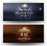 VIP invitation gold and silver banners with fireworks and crowns. Vector illustration Royalty Free Stock Images