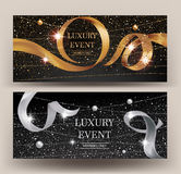 VIP Invitation gold and silver banners with sparkling strings, beads and curly ribbons. Royalty Free Stock Image