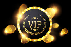 Vip invitation with golden badge, vector Royalty Free Stock Image
