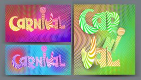 Set of very bright colored cards with radial halftone effect background and holographic colours. Vector illustration vector illustration