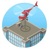 VIP, landing in helicopter on skyscraper roof Royalty Free Stock Photography