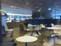 VIP lounge on the airport. The place to spend time waiting for the flight connection, to have a rest during the long trip or before the flight, to have a snack royalty free stock photography