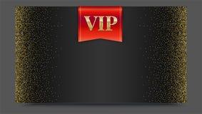 VIP lub luksusowa czerwona flaga na czarnym gradientowym tle z złotym, błyszczący, błyskotliwość pyłu Kruszcowy wzór Horyzontalny royalty ilustracja