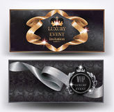VIP luxury event elegant banners with silk curled ribbons and floral design background. Vector illustration Stock Photo