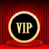VIP mark. Icon in gold with jewels and the word vip.VIP mark on the podium on a background of red portieres Stock Images