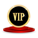 VIP mark. On a red podium  on white background. in gold with jewels Stock Photo