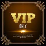 Vip-medlemmar endast Vip-personbakgrund Inbjudan för design för Vip-klubbabaner guld- bokstäver Arkivfoton