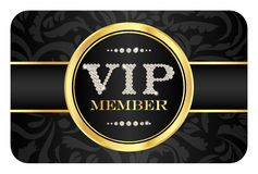 VIP member badge on black card with floral pattern Stock Photos