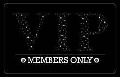 VIP Members only card design. VIP Members only card VIP letters in bright stars design Royalty Free Stock Photos