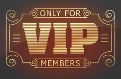 VIP only for members dark red and gold tones design. Vector illu Royalty Free Stock Image