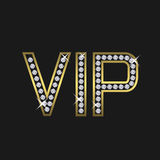 VIP members only. Golden letters encrusted with diamonds, vector illustration Royalty Free Stock Images