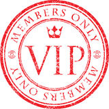VIP. Members only. Red vector grunge style rubber stamp with cro Stock Images
