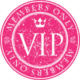 VIP. Members only. Red vector grunge style rubber stamp with cro Stock Image