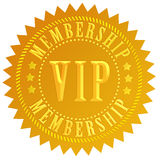 Vip membership. Golden label isolated on white background Royalty Free Stock Images