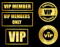 VIP membership. Gold VIP membership seal and stamp collection isolated on black vector illustration
