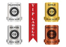 VIP Package Labels. VIP membership labels that can be used for membership plan deals or promotion Stock Photo