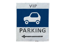 VIP Parking sign. Old and rusty hand made Stock Photography