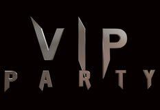 Vip Parti logo odizolowywał na czarnym tła 3 d surowym odpłaca się Obrazy Royalty Free