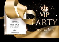 VIP PARTY INVITATION BANNER WITH GOLDEN RIBBON, VINTAGE FRAME AND CROWN. VECTOR ILLUSTRATION stock illustration