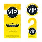 VIP party invitation card, warning hanger and Royalty Free Stock Image