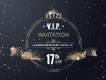 VIP party premium invitation card poster flyer with curving ribb. On, crown. Black and golden design template. Vector illustration Royalty Free Stock Photography
