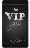 Vip pass. Black VIP pass with silver decor and crown isolated on the white background Royalty Free Stock Images