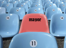 VIP place for the mayor at stadium. Rows of seats at stadium Royalty Free Stock Photos