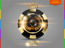 VIP poker black and golden chip with light effect vector (transparency in additional format only). Royal poker club casino emblem with crown, laurel wreath and royalty free illustration