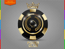 VIP poker black and golden chip vector (transparency in additional format only). Royal poker club casino emblem with crown, laurel wreath and spades isolated on vector illustration