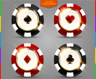 VIP poker black and red chip vector collection (transparency in additional format only). Casino spades, hearts, phillips, diamonds suit set isolated on stock illustration