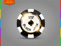 VIP poker chip with light effect vector (transparency in additional format only). Black jack poker club casino spades emblem isolated on transparent background stock illustration