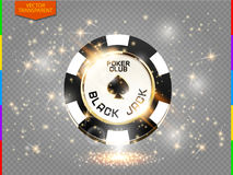 VIP poker chip with sparkling light effect vector (transparency in additional format only). Black jack poker club casino spades emblem with sparks on transparent royalty free illustration